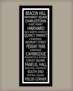 Subway Art Sign Boston Destination Typography Print 11.75x36. $41.00, via Etsy.