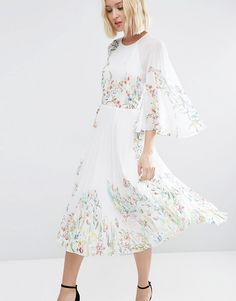 Image 3 of ASOS Caftan Pleated Midi Dress In Meadow Floral
