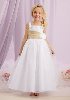 A-line Princess Straps Ankle-length in Organza Flower Girl Dress