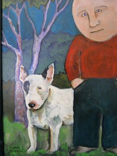 bull terrier by sandymastroni on Etsy. Best Dog Breeds, Best Dogs, Painting Gallery, Art Gallery, Bully Dog, English Bull Terriers, Bow Wow, Fox Terrier, Art Techniques
