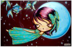 Big EyeLittle Wendy Bird GirlPeter Pan Fairy by pinkytoast on Etsy, $13.00
