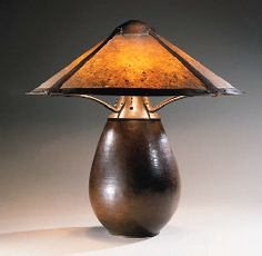 A FINE COPPER AND MICA TABLE LAMP