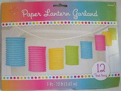 Lanterne di carta, garland lunga 3,65 mt per decorare anche al matrimonio, colori pastello. Wedding By C&C Creations Store