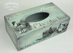 Decoupage i nie tylko… | Tissue Box Holder, Tissue Box Covers, Tissue Boxes, Mixed Media Boxes, Painted Wooden Boxes, Kleenex Box, Decoupage Box, Casket, Diy Furniture