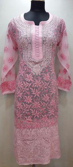 Lucknowi Chikan Kurti Pink Faux Georgette $48.68