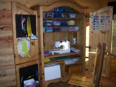 """This is a computer amoire that my hubby and I made into a sewing cabinet.  It is wonderful to """"hide"""" all my sewing mess.  Just shut the doors and it's all there when I need it, but doesn't clutter up the house."""