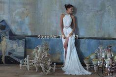 awesome Cheap New arrival sexy halter neckline blackless white chiffon beach wedding dress 2015