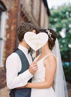 thank you photo prop bride and groom | Fun Wedding Photo Props | http://emmalinebride.com/decor/fun-wedding-photo-props/