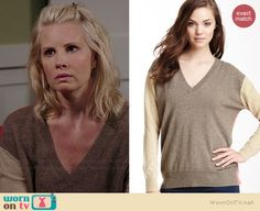 Kristina's beige colorblock sweater with orange back on Parenthood.  Outfit Details: http://wornontv.net/39013/ #Parenthood