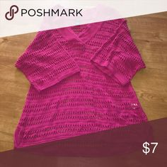 Izod beach cover up Pink net in color. 3/4 sleeves. Long enough to cover the back side. New Izod Swim Coverups