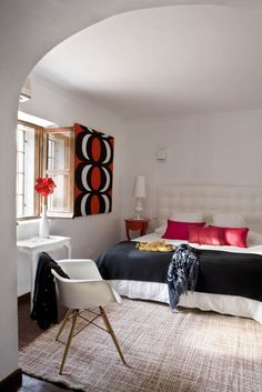 black white + red bedroom