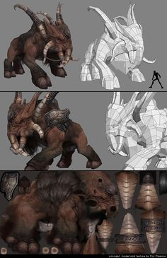 Low poly and textures creature 3d Model Character, Character Modeling, Character Concept, Character Art, 3d Modeling, Zbrush, Wireframe, Game Design, Low Poly Games