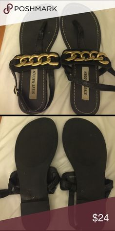 Steve Madden Black Leather Sandals Gold accents very cute Steve Madden Shoes Sandals