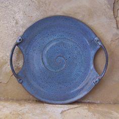Rutilo azul gres cerámica plato bandeja de por montezumamudd