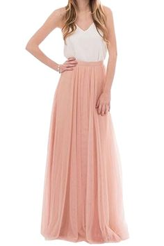 Honey Qiao Women's Maxi High Waist Skirts Blush Tulle Holiday Formal Skirt at Amazon Women's Clothing store: