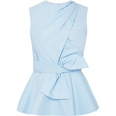 Prabal Gurung Draped-Bow Cotton Peplum Top (11 250 UAH) ❤ liked on Polyvore featuring tops, blouses, shirts, blue, blusas, light blue, cotton shirts, peplum tops, peplum blouse and cotton blouses