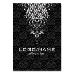 Elegant Black and White Vintage Floral Damasks Business Card. I love this design! It is available for customization or ready to buy as is. All you need is to add your business info to this template then place the order. It will ship within 24 hours. Just click the image to make your own!