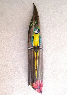 Blue McCaw Parrot Painted on Seed Pod Hand Painted Palm Frond by roseartworks on Etsy