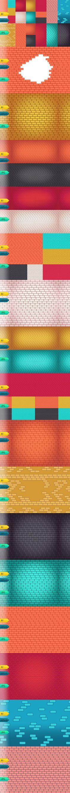 Brick walls seamless vector backdrop. Textures. $6.00
