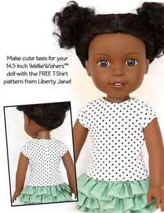 "Free Doll Clothes pattern designed to fit the new 14.5"" WellieWishers™ Dolls! Your Wellie Wisher doll will look great in a new tee. Download, Print, Sew!"