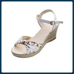 Oyedens Sommer Frauen Flip Flops Zehen High Heels Keile Schuhe Sandalen (37, Weiß) - Hausschuhe für frauen (*Partner-Link)