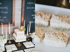 Hand painted gold chevron cake with a gorgeous gold blossom. The dessert table also had yummy treats of Mini Cream'wiches, Vanilla Bean French Macaroons, White Chocolate covered marshmallows, Snowball cookies and White Chocolate Coconut Rice Krispy bars. Two menu chalkboards were hung behind the dessert table to bring in the industrial element.