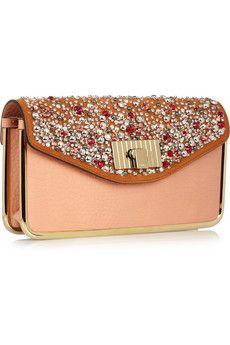 Chloe Sally Swarovski crystal-embellished leather clutch . . . Very sharp!