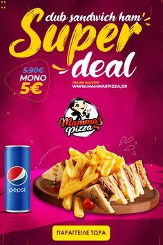 Απολαύστε το λαχταριστό🥪 Club Sandwich μπιφτέκι + 1 Pepsi 330ml μόνο με 5€ από 5,90€!!! Ζουμερή γεύση σε ένα μοναδικό Mammas Deal! 🖱www.mammaspizza.gr ☎23210 50888 ✅Η προσφορά ισχύει εως τις 31/1 #serres #mammaspizza #superdeal #club_sandwich Super Club, Pepsi, Cereal, Sandwiches, Pizza, Delivery, Breakfast, Food, Morning Coffee