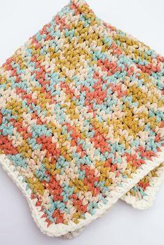 I love the colors in this Bernat blanket yarn. crochet baby blanket pattern