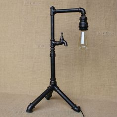 Industrial Water Pipe Reading Desk Table Lamp Valve Antiqued Black Finish Light Machine Age Indoors Steampunk