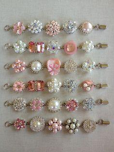 SALE 6 Bridesmaid bracelets vintage earring by ChicMaddiesBoutique Vintage Jewelry Crafts, Vintage Costume Jewelry, Jewelry Art, Beaded Jewelry, Jewelry Design, Unique Jewelry, Golden Jewelry, Bridesmaid Bracelet, Vintage Earrings