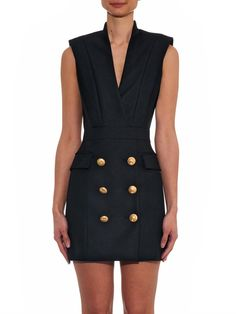 Balmain V-neck button-detail dress