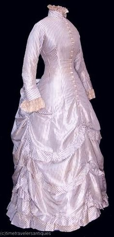 1870's Blue and White Pinstripe Silk Polonaise with Lace Accents