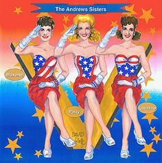Andrews Sisters paper doll created for the cover of Paperdoll Review magazine, 2008.