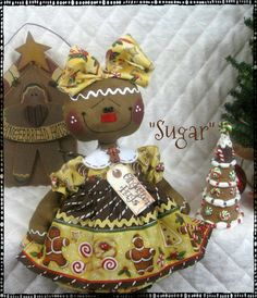 "♥ Primitive Christmas Gingerbread Dolls ""Sugar"" ""Spice"" Ginger Creek Crossing 