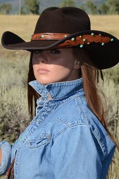 Chocolate brown tooled leather felt cowboy hat by Brit West. Felt Cowboy Hats, Cowboy Up, Cowgirl Hats, Western Hats, Cowgirl Outfits, Western Wear, Sexy Cowgirl, Cowgirl Chic, Cowgirl Style