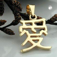 Anhänger, chinesisch, Liebe, 9Kt GOLD accessorize24-430169