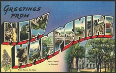 1940s Large Letter Greetings from New Hampshire State Vintage Postcard