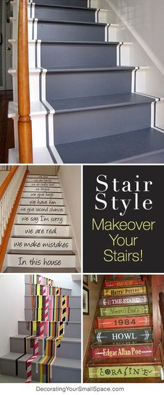 Stair Style - DIY Stair Makeovers If your stairs need updating, try these DIY stair makeover ideas and projects! Make your stairs full of style! Painted Stairs, Wooden Stairs, Stair Makeover, Basement Stairs, Garage Stairs, Porch Stairs, Front Stairs, Basement Remodeling, Stairways