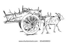 Hand drawn sketch of Bullock cart in vector sketch. Human Sketch, Human Drawing, Figure Sketching, Figure Drawing, Architecture Drawing Sketchbooks, Art Village, Sketches Of People, Indian Art Paintings, Art Drawings Sketches Simple