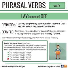 Phrasal Verbs: Work - Lay (someone) Off Grammar Book Pdf, English Grammar Book, Grammar And Vocabulary, English Idioms, Learn English Words, English Phrases, English Study, English Lessons, English Vocabulary