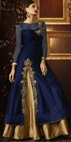 Lovely Navy Blue Silk Material Anarkali Suit http://www.fashionfiza.com/salwar-kameez/anarkali-suits