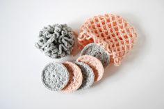 Beauty crochet pack: shower puff, makeup pads and washing net. www.silverwool.eu
