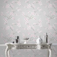Apple Blossom Tree Grey Wallpaper by Graham and Brown