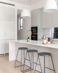 White and Gray Scandinavian Kitchen decor via @the_stables_ Kitchen Furniture, Kitchen Interior, Kitchen Decor, Kitchen Design, Kitchen Ideas, Bathroom Inspiration, Blue Kitchen Cabinets, White Kitchen Island, Scandinavian Kitchen