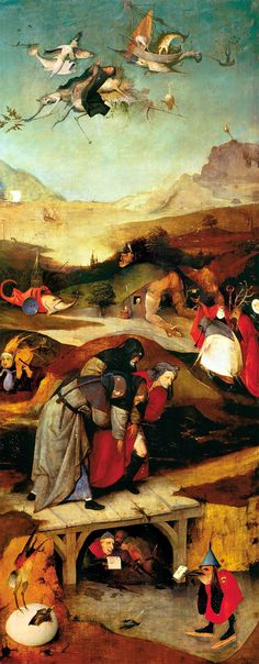 Learn more about Triptych of Temptation of St Anthony (left wing) Hieronymous Bosch - oil artwork, painted by one of the most celebrated masters in the history of art. Hieronymus Bosch, Religious Paintings, Religious Art, Medieval Art, Renaissance Art, Robert Campin, San Antonio Abad, Temptation Of St Anthony, Pieter Bruegel