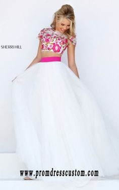 Sherri Hill 50325 Floral Beaded Two-Piece 2016 Ivory/Fuchsia Cap Sleeves Long…