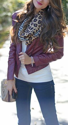 Chicwish Faux Leather Biker Jacket in Wine