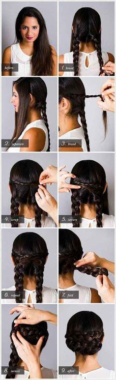 Trenza cuatro porciones y sujeta tu pelo para formar este lindo recogido.