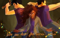 Percy, Hazel, and Frank in The Son of Neptune. Percy Jackson Fan Art, Percy Jackson Books, Percy Jackson Fandom, Magnus Chase, Percabeth, Solangelo, Viria, Hazel And Frank, Son Of Neptune